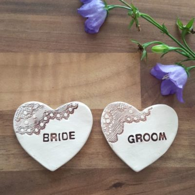 bride and groom hearts
