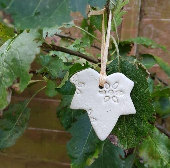 white ceramic leaf decoration