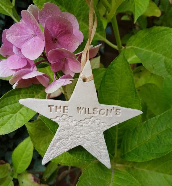 personalised ceramic christmas star