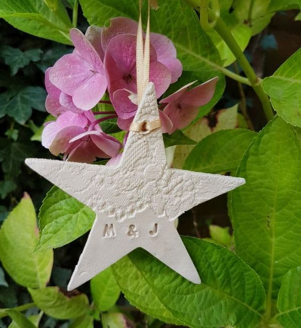 ceramic lace star with initials