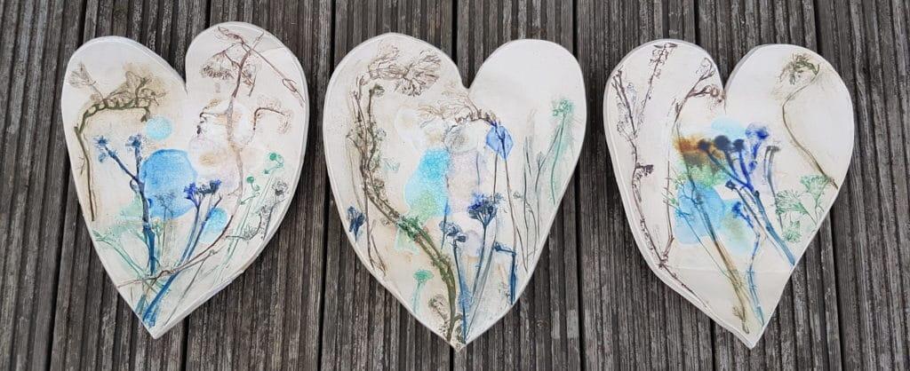 floral ceramic heart bowls