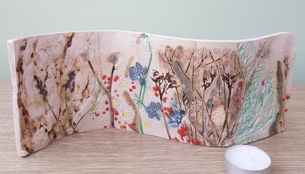 garden themed ceramic curve