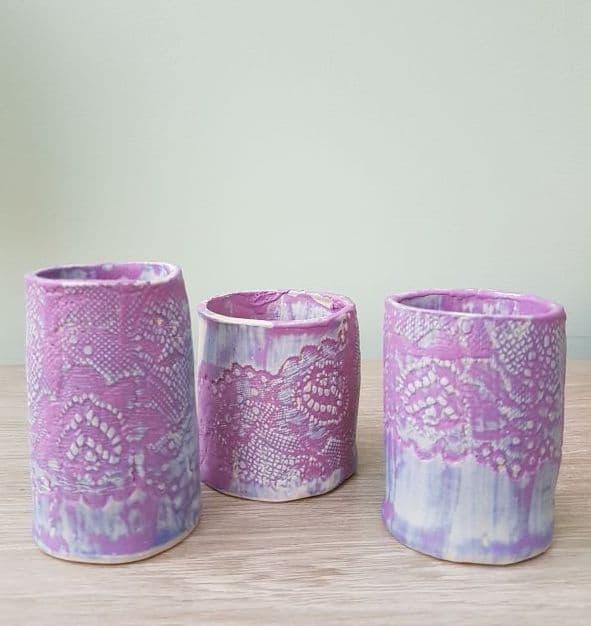 purple lace bud vase