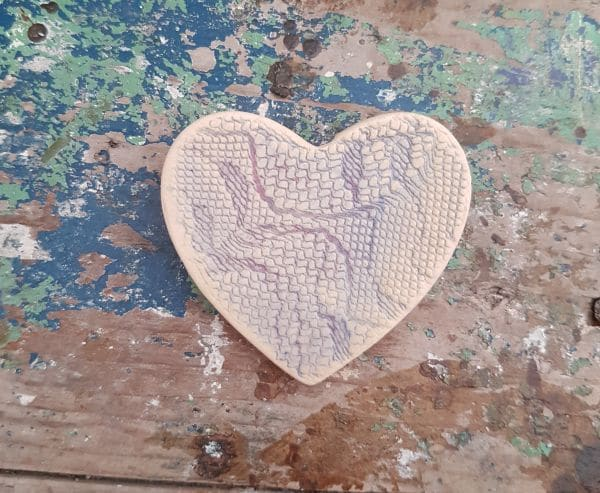 ceramic heart lace brooch