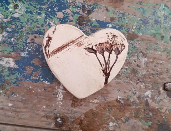 organic ceramic heart brooch