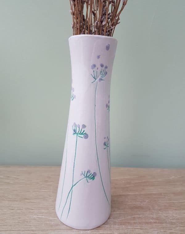 mint green flowers white vase