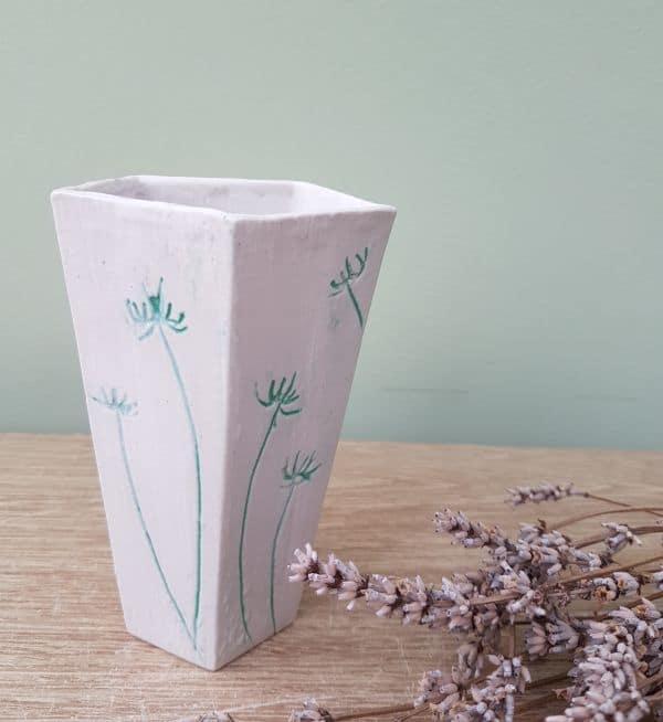 mint green flowers vase