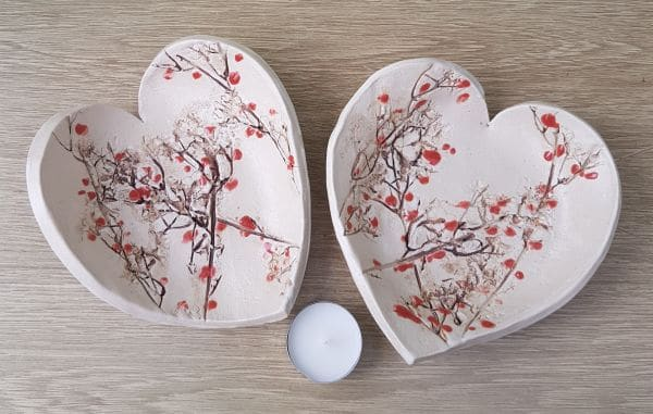 Cherry Blossom Ceramic Heart Dish Charlotte Hupfield