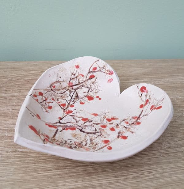 cherry blossom heart dish