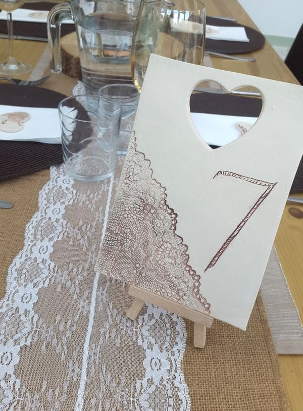 ceramic lace number tile on wooden easel