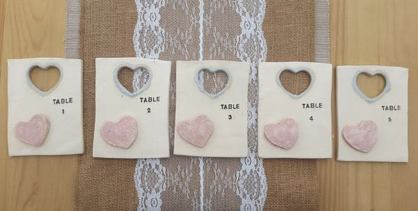 set of ceramic table number tiles