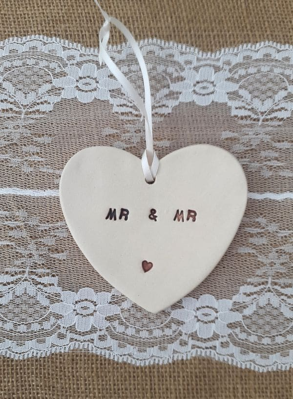 mr and mr ceramic heart