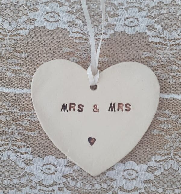 mrs and mrs ceramic heart