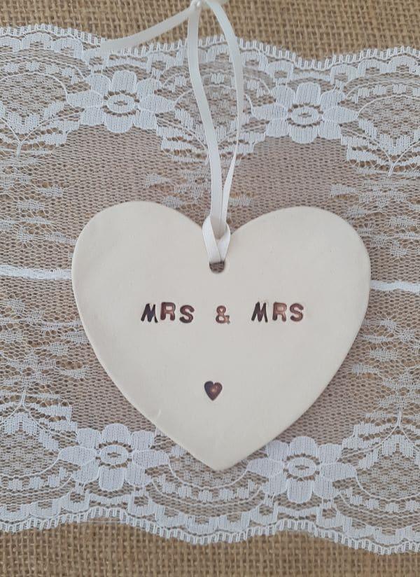 mrs and mrs ceramic heart