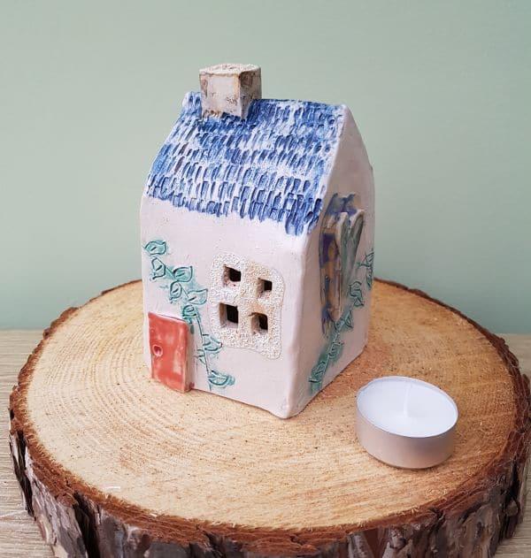 ceramic tea light house blue roof