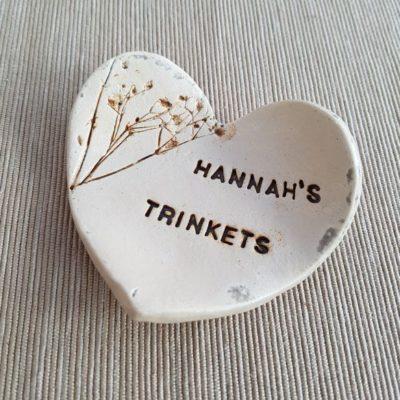 personalised ceramic heart dish