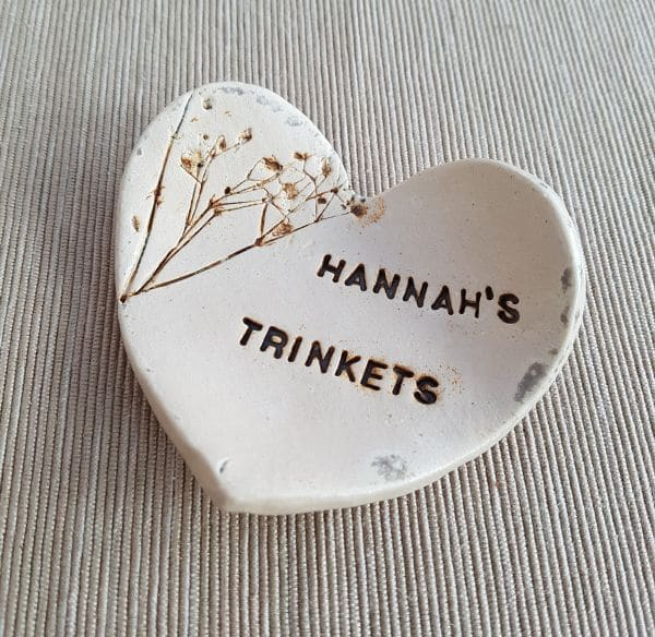 personalised ceramic heart dish