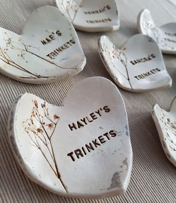 natural personalised heart bowl