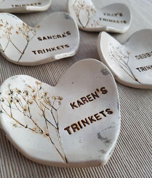bridesmaid gift personalised heart ring dish