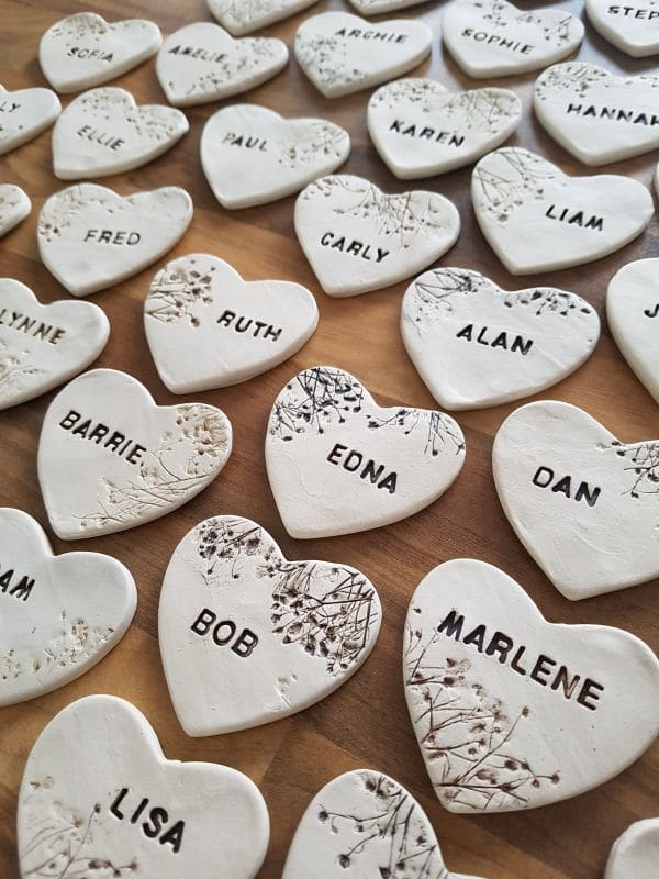 custom made ceramic wedding heart favours