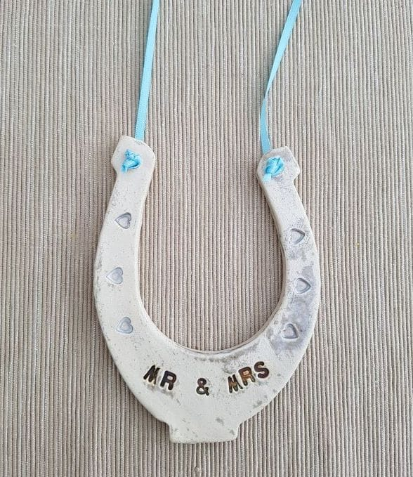 mr and mrs lucky ceramic horse shoe