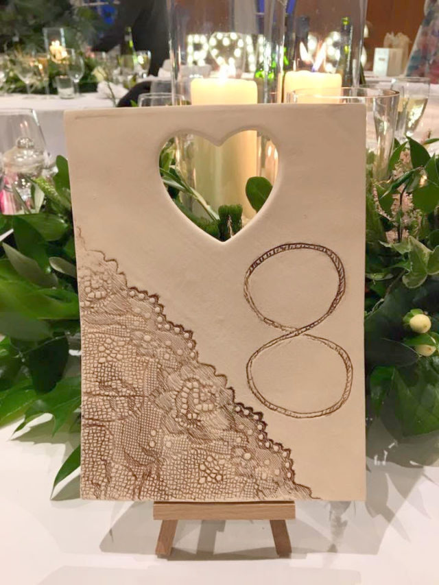 ceramic rustic lace table number