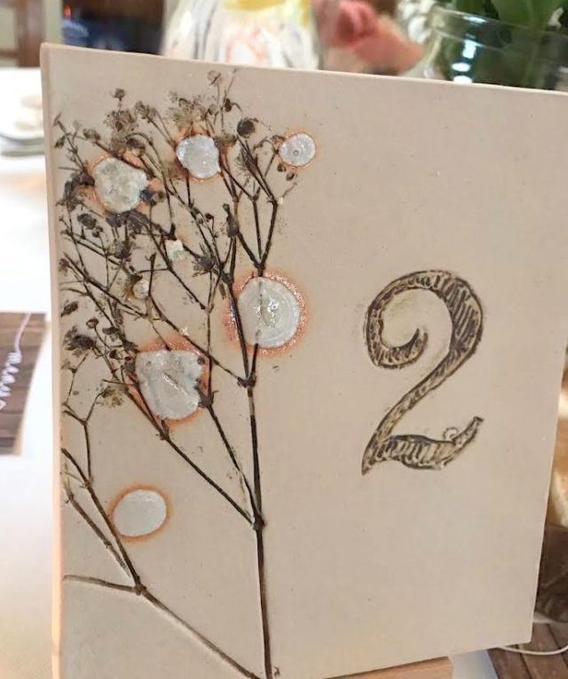 wedding ceramic table number with easel