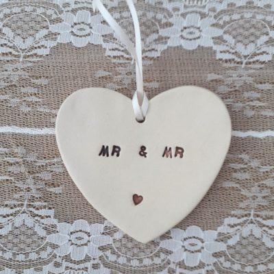 mr and mr ceramic heart