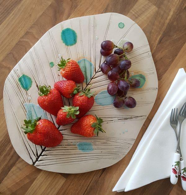 ceramic leaf fruit platter