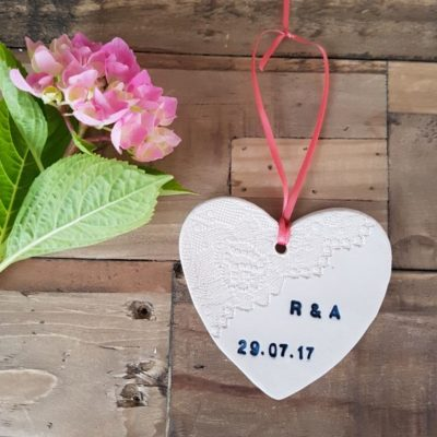 personalised initials date navy & coral lace heart wedding favour