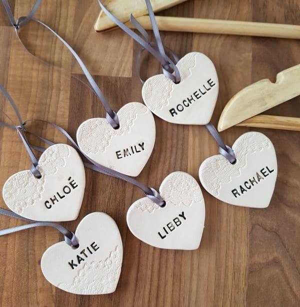 personalised ceramic clothes hanger hearts