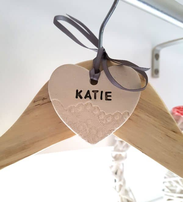 personalised ceramic clothes hanger wedding heart