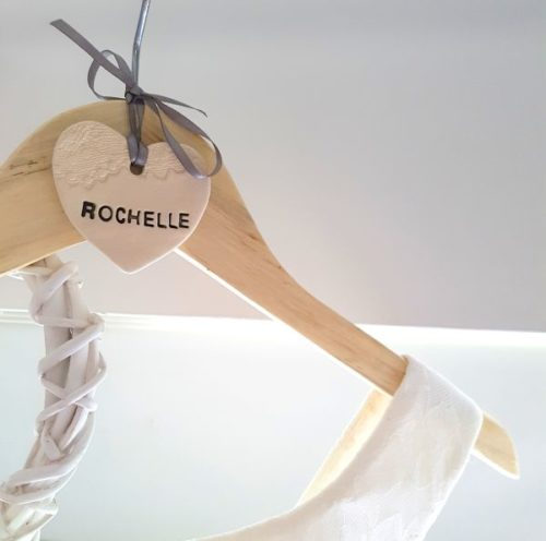 personalised ceramic clothes hanger heart
