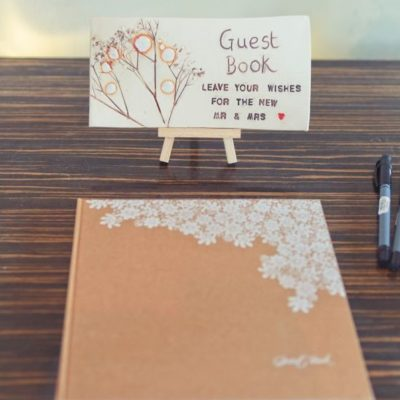 ceramic wedding guest book sign tile