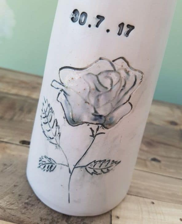personalised date on vase with rose