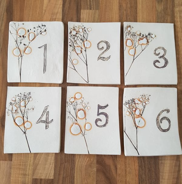 ceramic wedding table number tiles