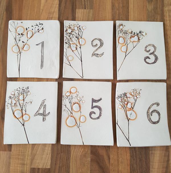 ceramic wedding table number tiles