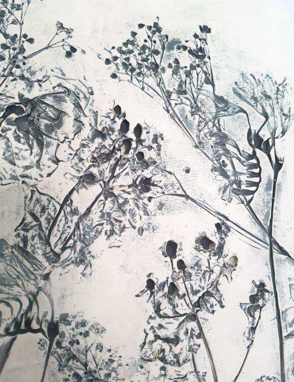 grey flowers berries wall art