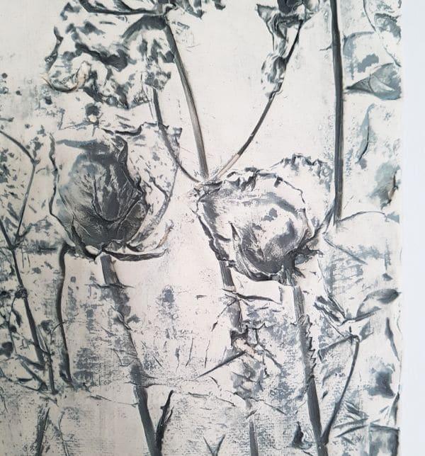 grey flowers roses wall art