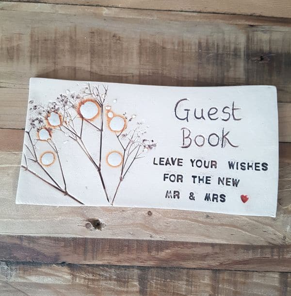 wedding guest book tile sign
