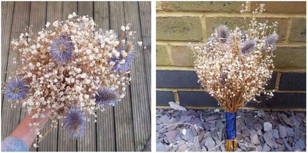 bouquet thistles gypsophila