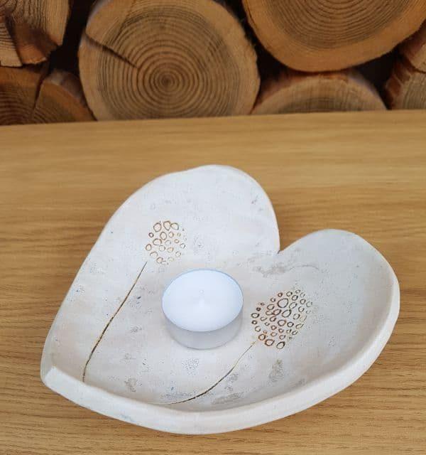 dandelion tea light heart bowl