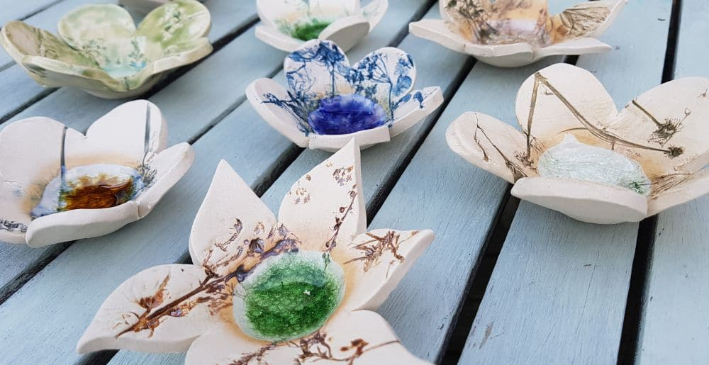 ceramic flower ring dishes
