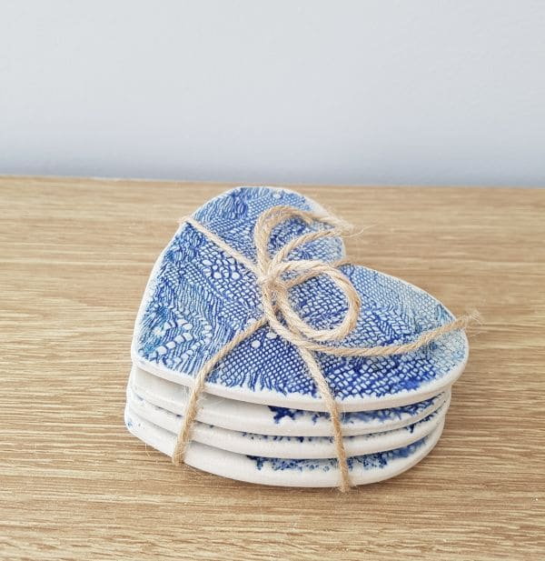 blue lace heart coasters
