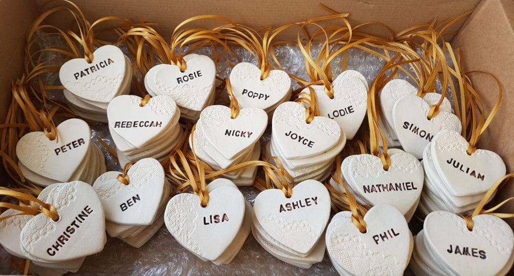 personalised ceramic heart wedding favours