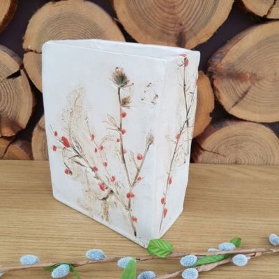 winter berries ceramic vessel