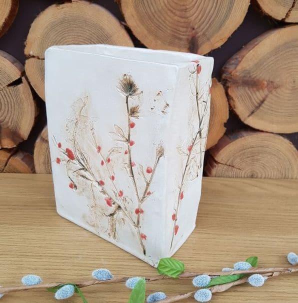 winter berries ceramic vessel