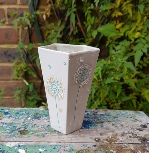 pentagonal mint green dandelion vase