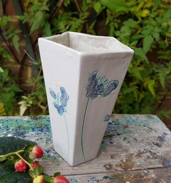lilac and mint flowers pentagonal vase