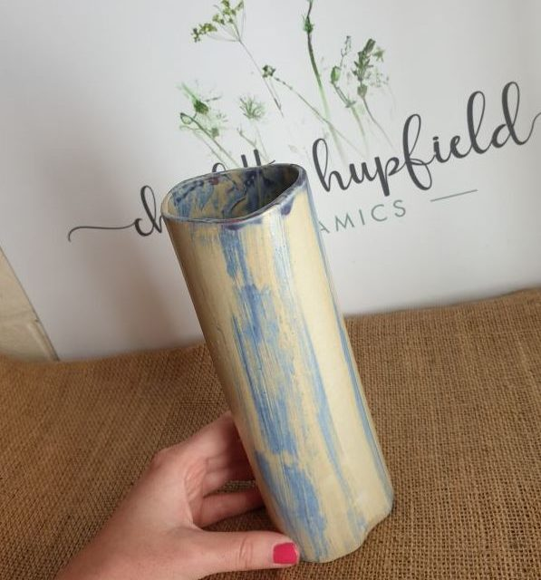blue and mustard vase